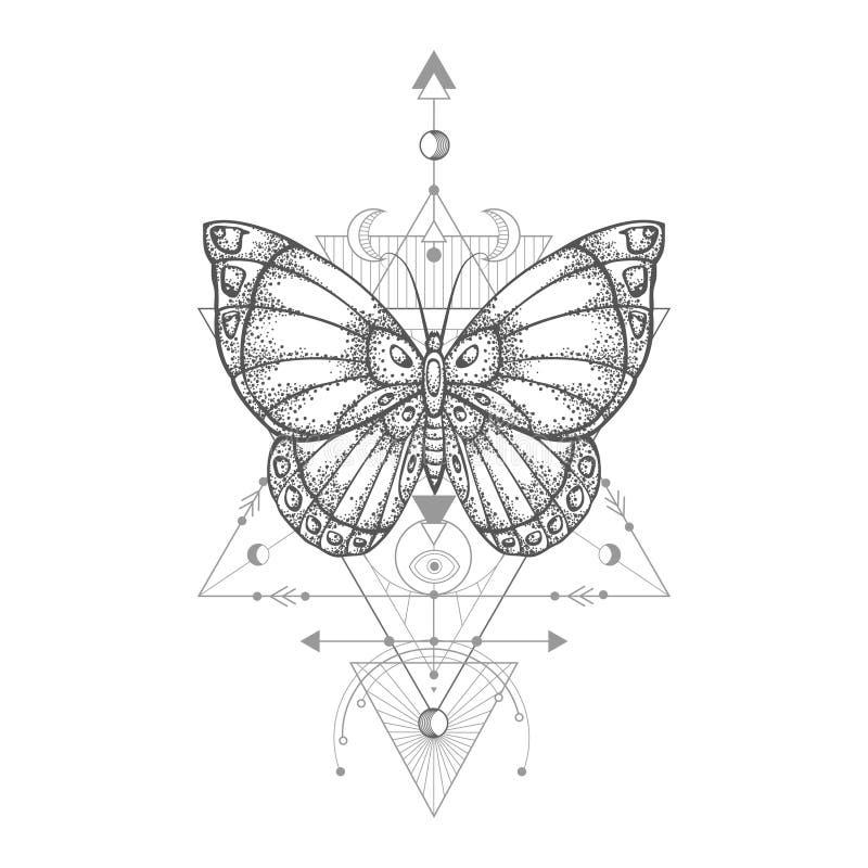 Illustration de vecteur avec le papillon tir? par la main et symbole g?om?trique sacr? sur le fond blanc Signe mystique abstrait illustration stock