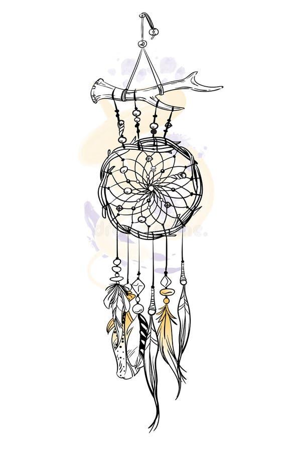 Illustration de vecteur avec le receveur rêveur tiré par la main Courses et taches de brosse d'aquarelle Articles ethniques fleur illustration de vecteur