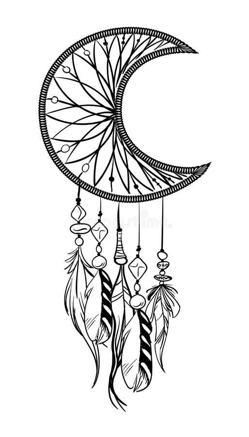 Illustration de vecteur avec le receveur rêveur tiré par la main Plumes et perles illustration stock