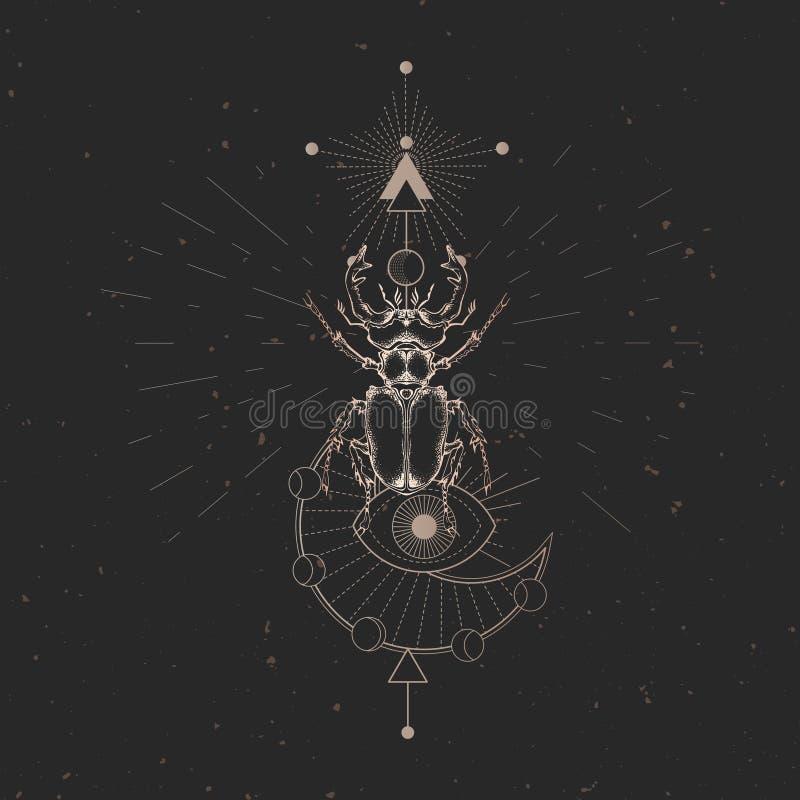 Illustration de vecteur avec le scarabée de mâle tiré par la main et symbole géométrique sacré sur le fond noir de cru Signe myst illustration libre de droits