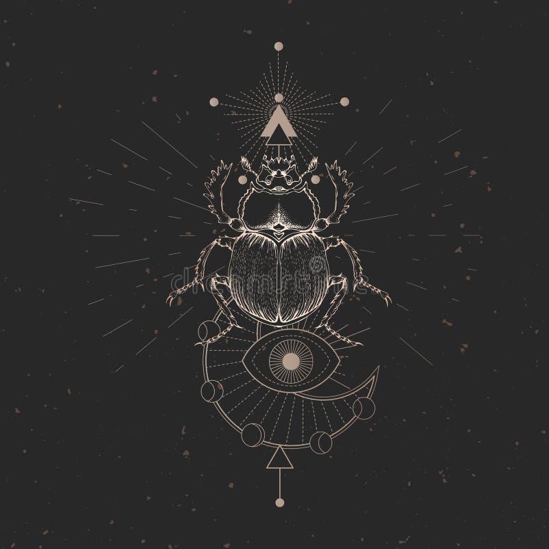 Illustration de vecteur avec le scarabée tiré par la main et symbole géométrique sacré sur le fond noir de cru Signe mystique abs illustration de vecteur