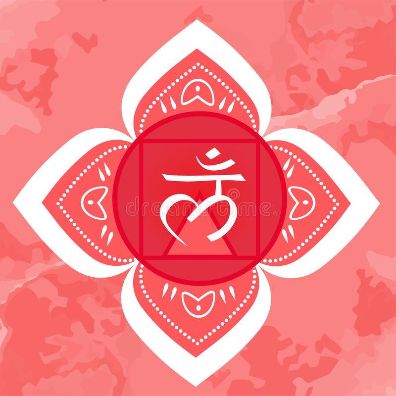 Illustration de vecteur avec le symbole Muladhara - chakra de racine sur le fond ornemental illustration de vecteur