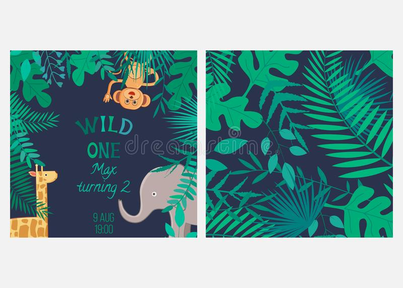 Illustration de vecteur avec les animaux et l'inscription les sauvages de bande dessinée et modèle sans couture avec des feuilles illustration de vecteur