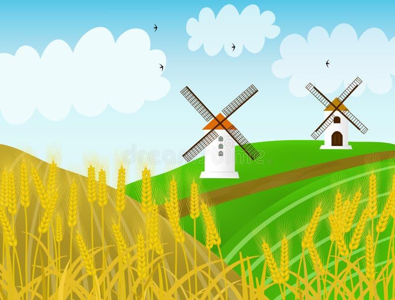 Illustration de vecteur avec les moulins et le seigle photographie stock libre de droits