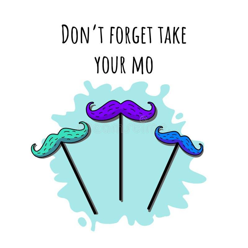 Illustration de vecteur avec les moustaces colorés multi illustration stock