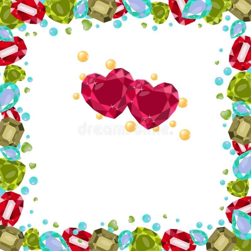 Illustration de vecteur avec les pierres gemmes précieuses, colorées, cadre Différentes formes, coeur, poire, octogone, antiquité illustration libre de droits