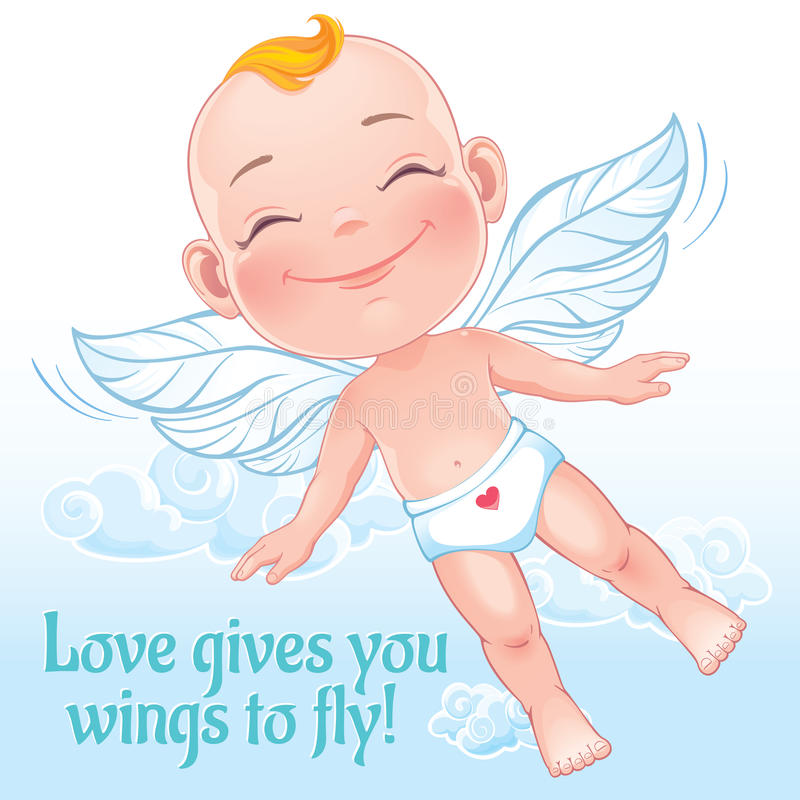 Illustration de vecteur avec piloter le cupidon heureux de bébé illustration libre de droits