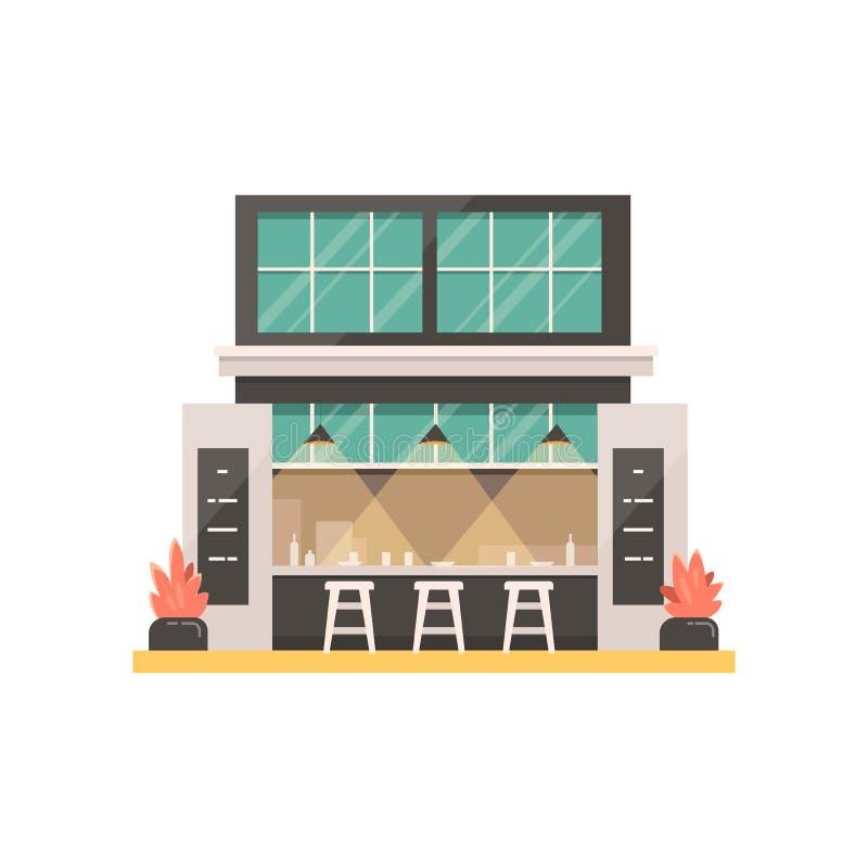 Illustration de vecteur de bâtiment de magasin extérieur de café, restaurant ou café, marché illustration de vecteur