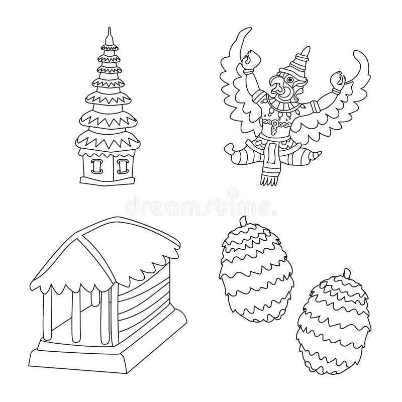 Illustration de vecteur de balinese et de logo des Cara?bes Placez de l'ic?ne de vecteur de balinese et de g?ographie pour des ac illustration libre de droits