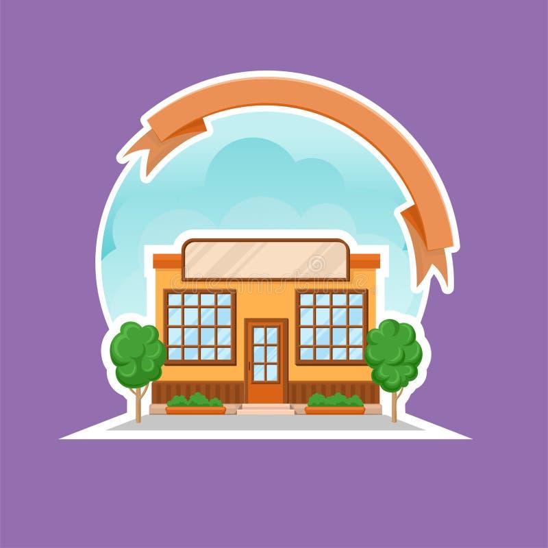 Illustration de vecteur de bande dessinée de bâtiment de boutique ou de restaurant de café, élément coloré de conception pour le  illustration libre de droits
