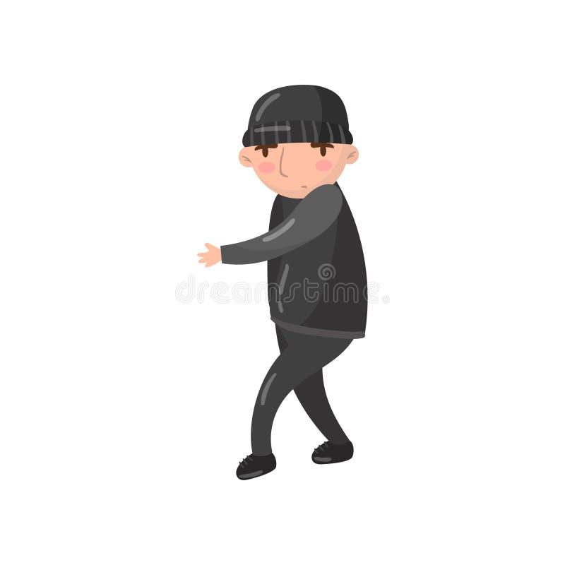 Illustration de vecteur de bande dessinée de caractère de voleur ou de voleur illustration libre de droits