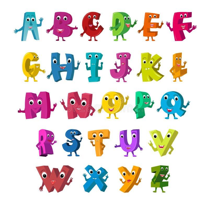 Illustration de vecteur de bande dessinée d'alphabet drôle de majuscules illustration stock