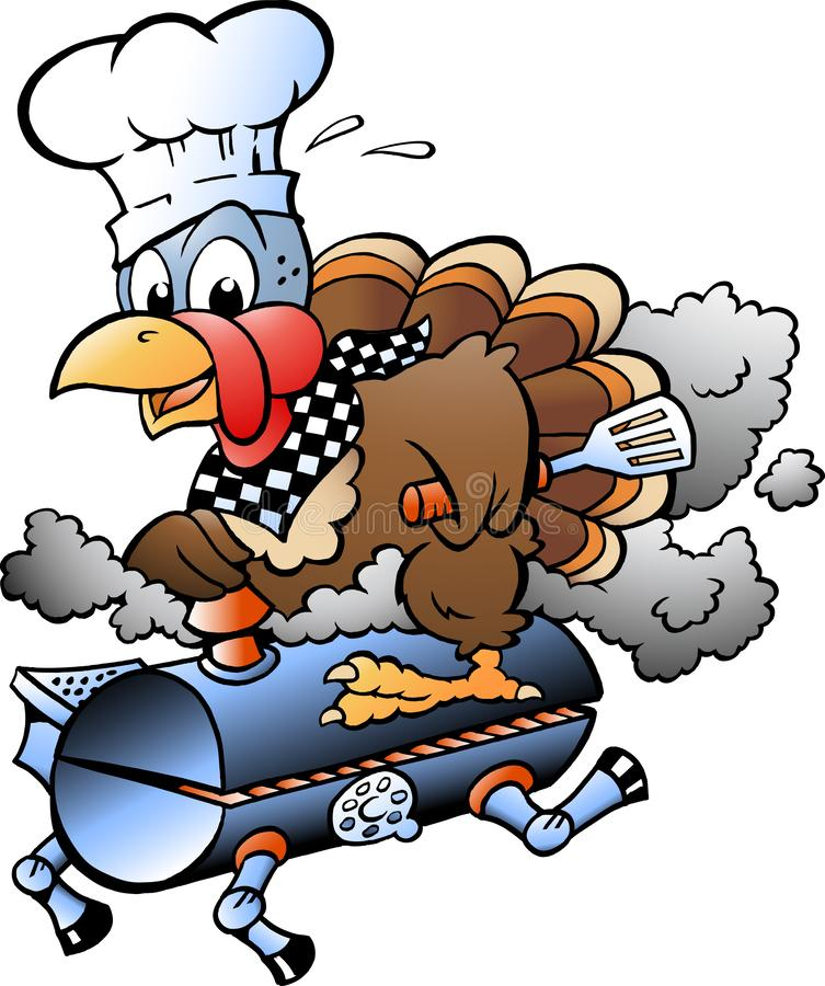 Illustration de vecteur de bande dessinée d'un chef de la Turquie de thanksgiving montant un baril de gril de BBQ illustration libre de droits