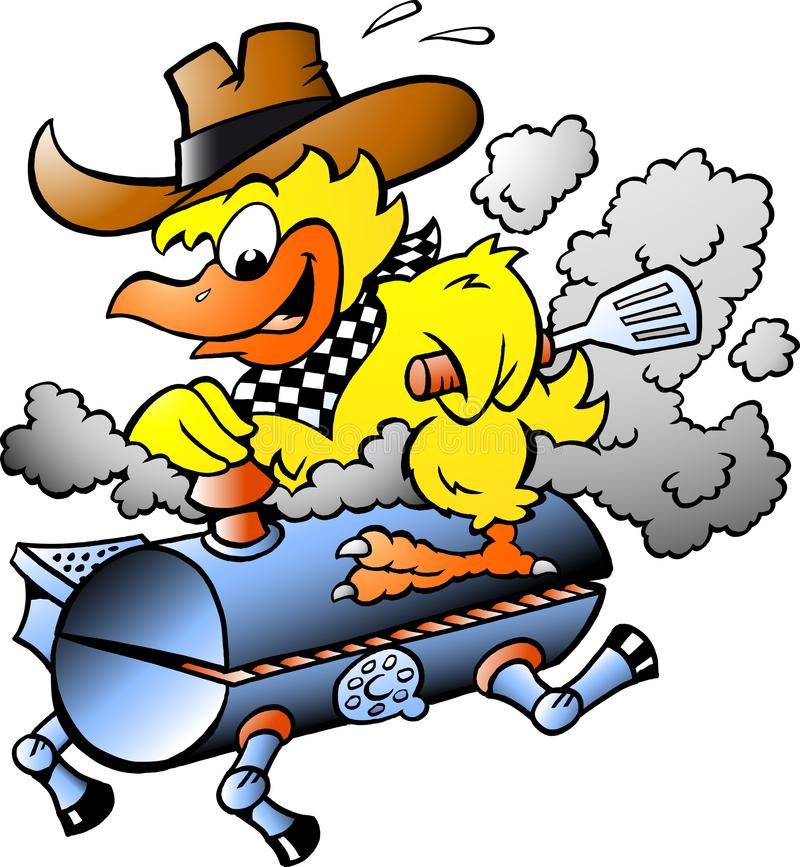 Illustration de vecteur de bande dessinée d'un poulet jaune montant un baril de gril de BBQ illustration libre de droits