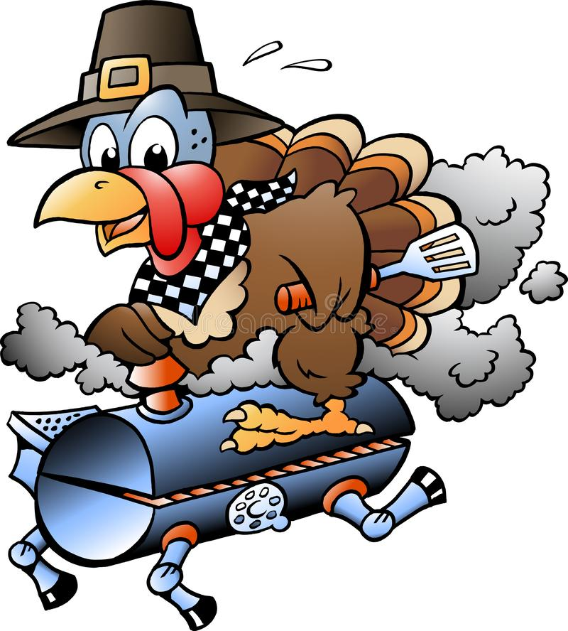 Illustration de vecteur de bande dessinée d'un thanksgiving Turquie montant un baril de gril de BBQ illustration libre de droits