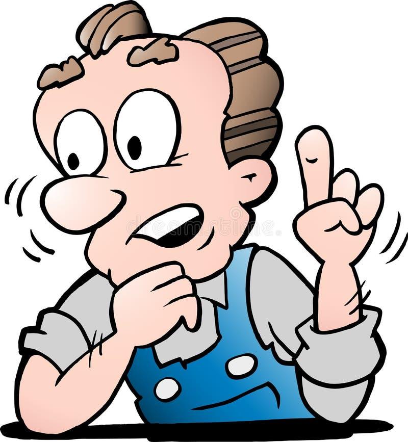 Illustration de vecteur de bande dessinée d'un travailleur supérieur plus âgé illustration libre de droits