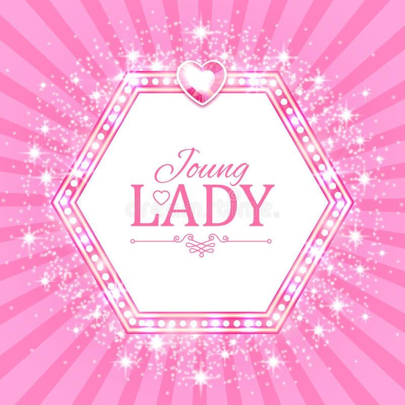 Illustration de vecteur Bannière rose mignonne pour la princesse, le charme et la conception de bébé Rétro brillant sur le fond d illustration libre de droits