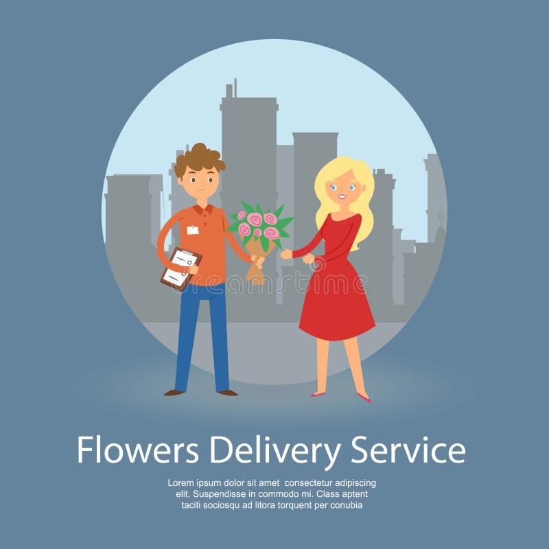 Illustration de vecteur de bannière de service de distribution de fleurs Bouquet de participation de garçon de messager et trombo illustration de vecteur