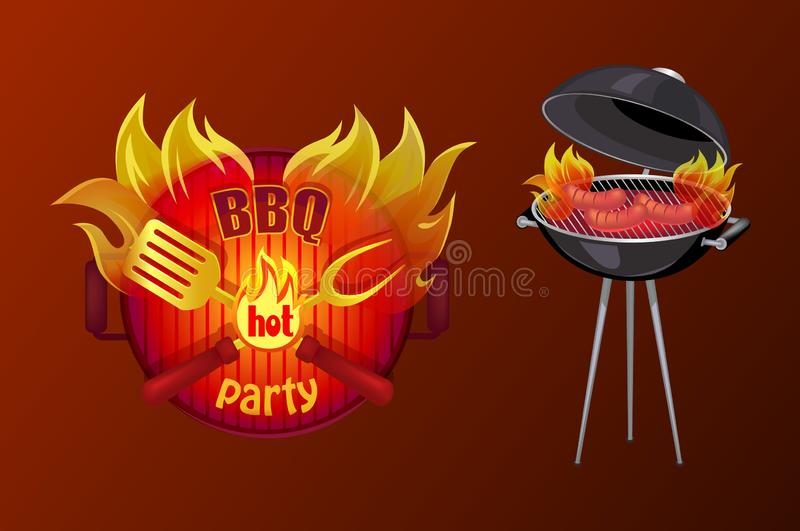 Illustration de vecteur de barbecue d'affiche de partie de BBQ illustration de vecteur