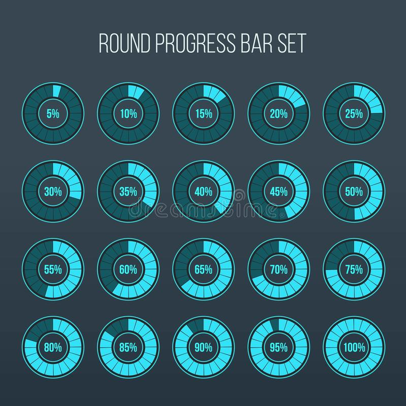Illustration de vecteur de barre ronde de progrès Statut d'indicateurs de cercle Ensemble d'icône de pourcentage de chargement et illustration libre de droits