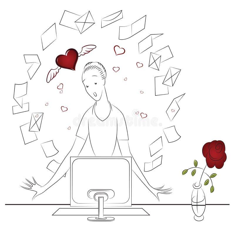 Illustration de vecteur Beaux fille et ordinateur illustration de vecteur