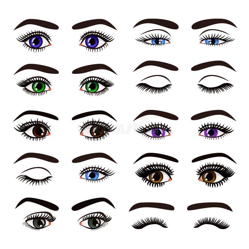 Illustration de vecteur de beaux yeux et fronts femelles de femme dans la collection diff?rente d'ensemble d'?motions sur le fond illustration stock