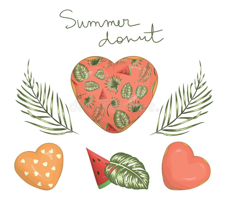 Illustration de vecteur de beignet en forme de coeur avec le glaçage rose avec la paume et les feuilles et la pastèque vertes de  illustration libre de droits