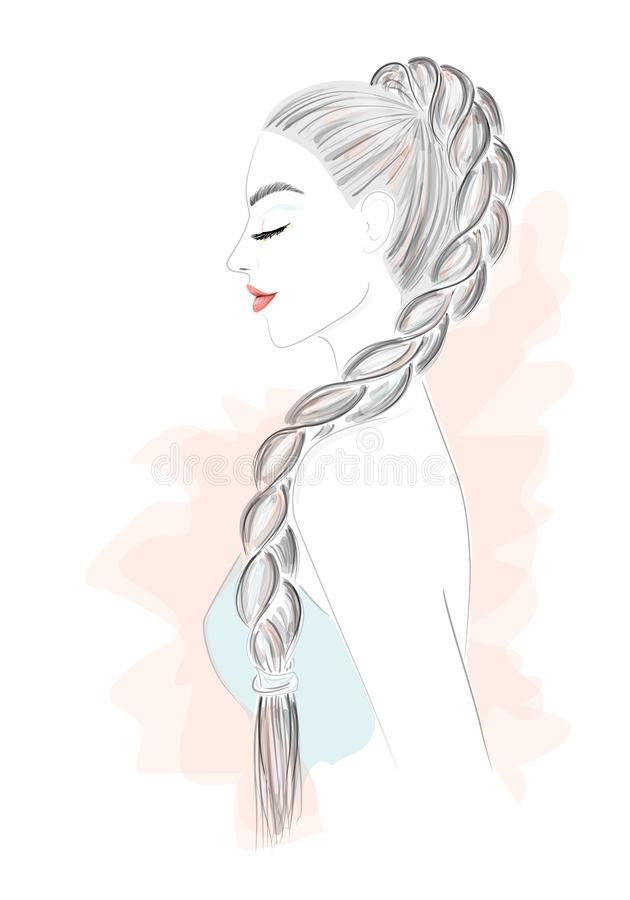 Illustration de vecteur de belle femme avec de longs cheveux illustration stock
