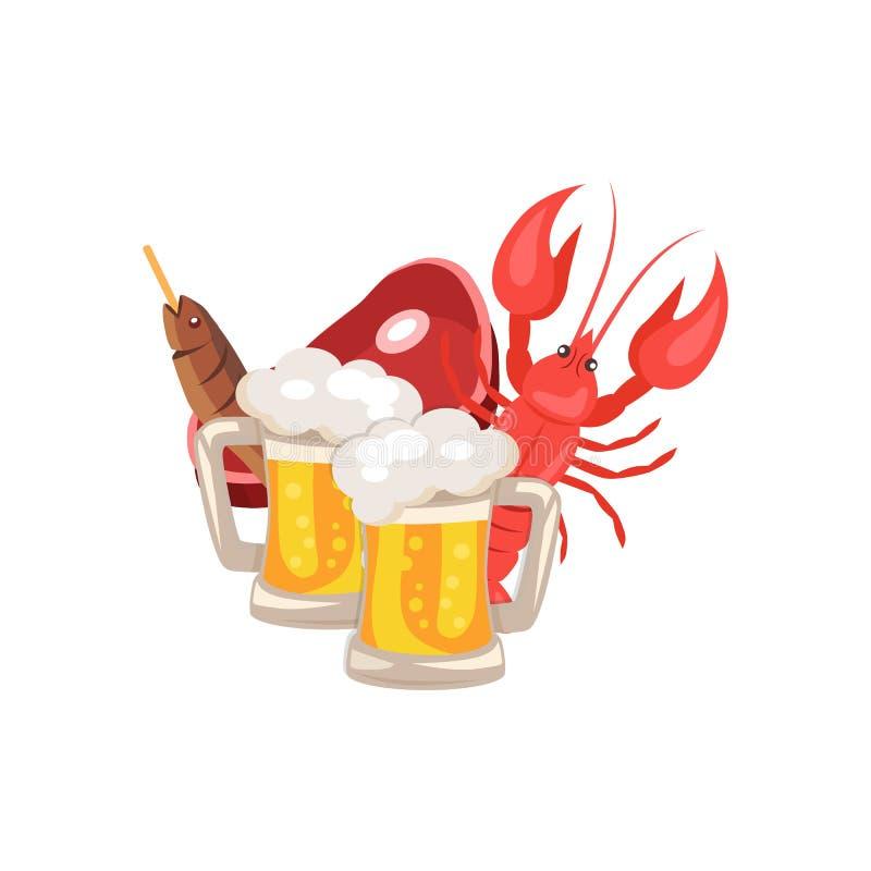 Illustration de vecteur de bière et de casse-croûte sur le blanc illustration libre de droits