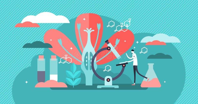 Illustration de vecteur de biologie Concept minuscule plat de personne d'étude de la science de nature illustration libre de droits