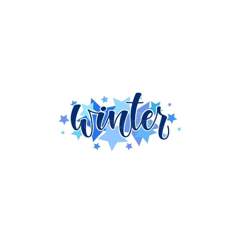 Illustration de vecteur : Bonjour lettrage moderne élégant de brosse d'hiver d'isolement sur le fond et les étoiles blancs illustration stock
