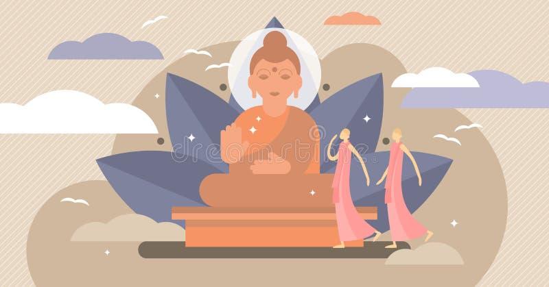 Illustration de vecteur de bouddhisme Concept minuscule de personnes de symbole de religion de karma illustration stock