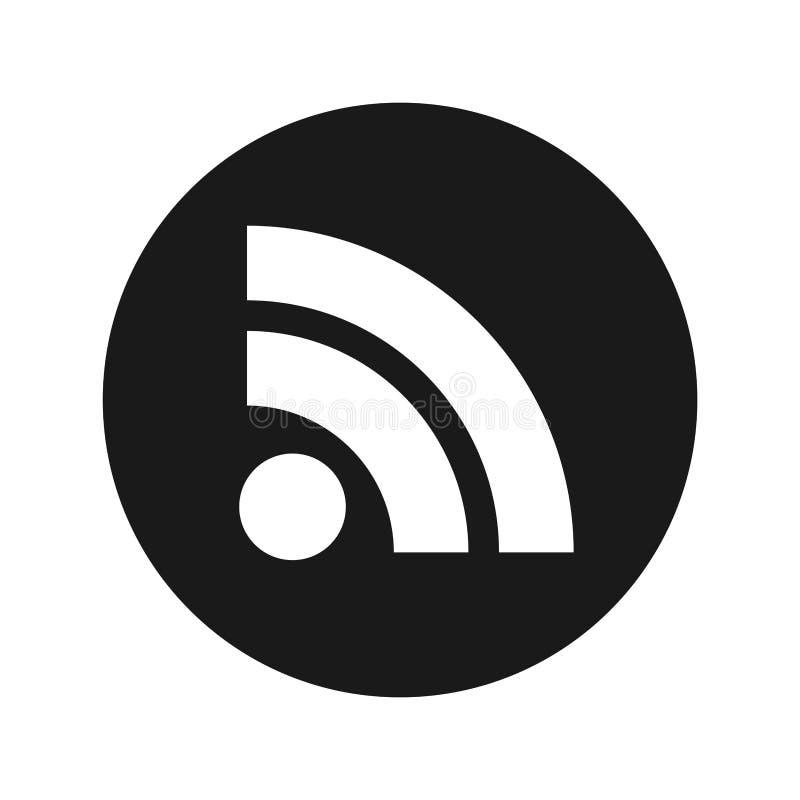 Illustration de vecteur de bouton de rond de noir mat d'icône d'alimentation de RSS illustration de vecteur