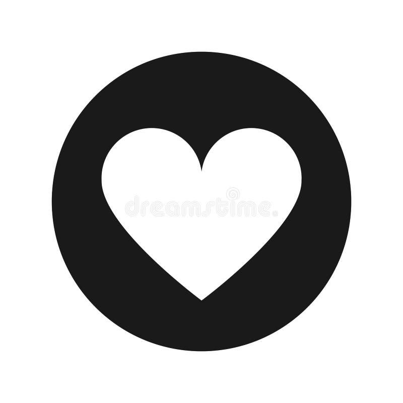 Illustration de vecteur de bouton de rond de noir mat d'icône de coeur illustration libre de droits