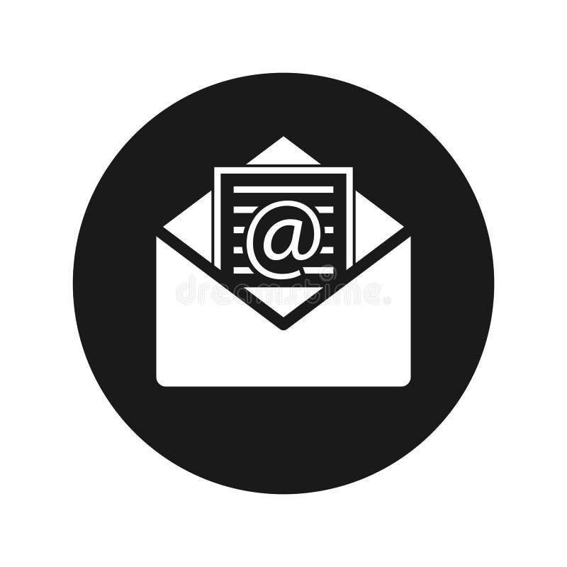 Illustration de vecteur de bouton de rond de noir mat d'icône d'email de bulletin d'information illustration stock