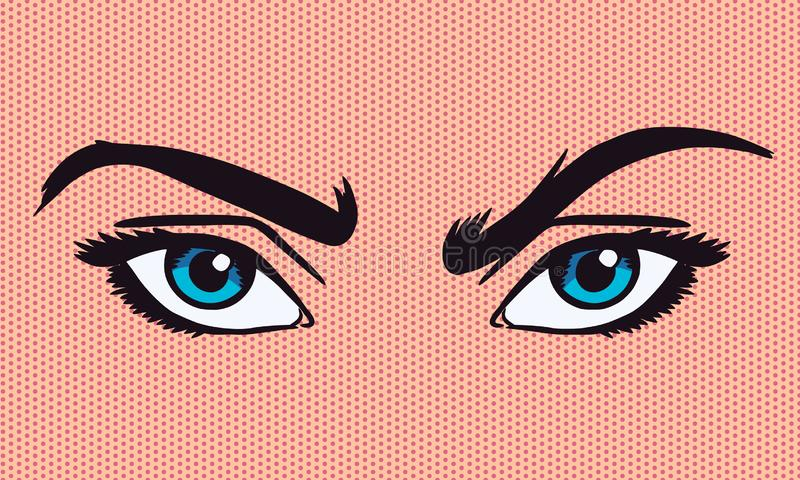 illustration de vecteur de Bruit-art des yeux de froncement de sourcils illustration stock