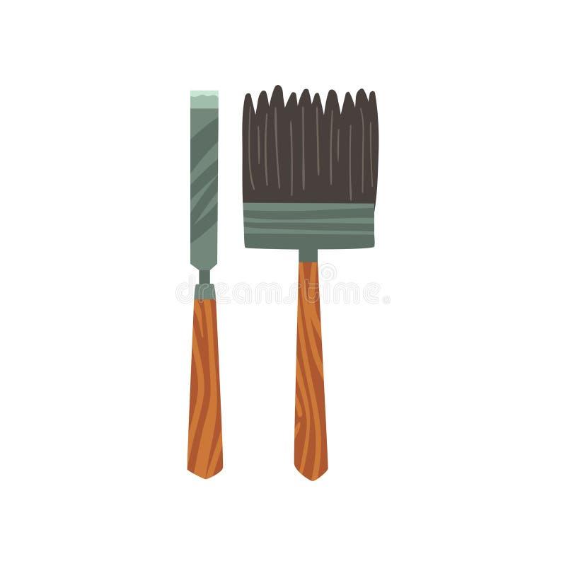 Illustration de vecteur de burin et d'équipement d'archéologie de brosse illustration de vecteur