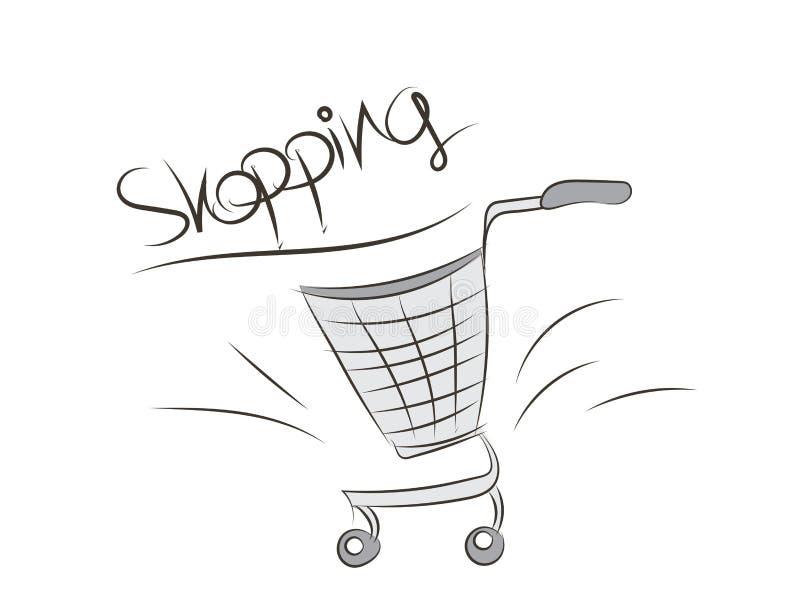 illustration de vecteur de caddie de supermarché, tirée par la main, icône de Web, graphique, dessin de croquis, bande dessinée d illustration stock