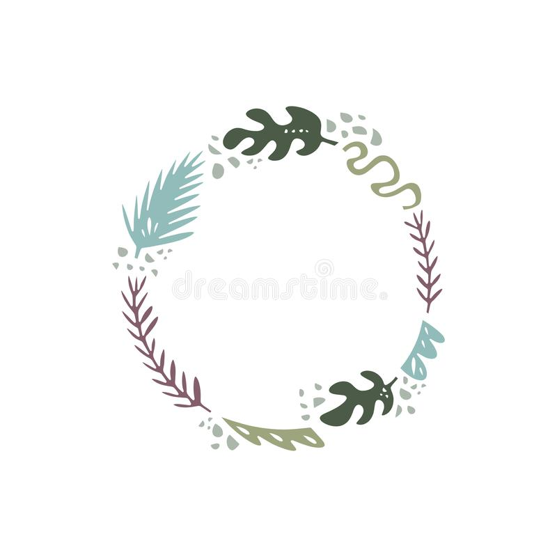Illustration de vecteur, cadre ou guirlande floral, conception d'album, ensemble floral en pastel, calibre pour le logo illustration stock