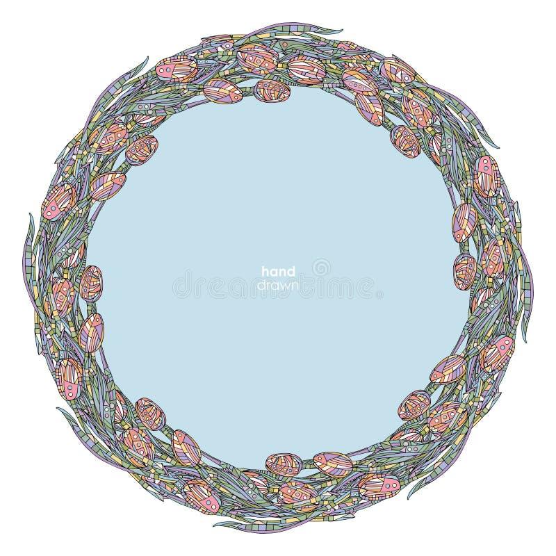 Illustration de vecteur de cadre de tulipes Fond tiré par la main de fleurs Cadre décoratif floral illustration stock