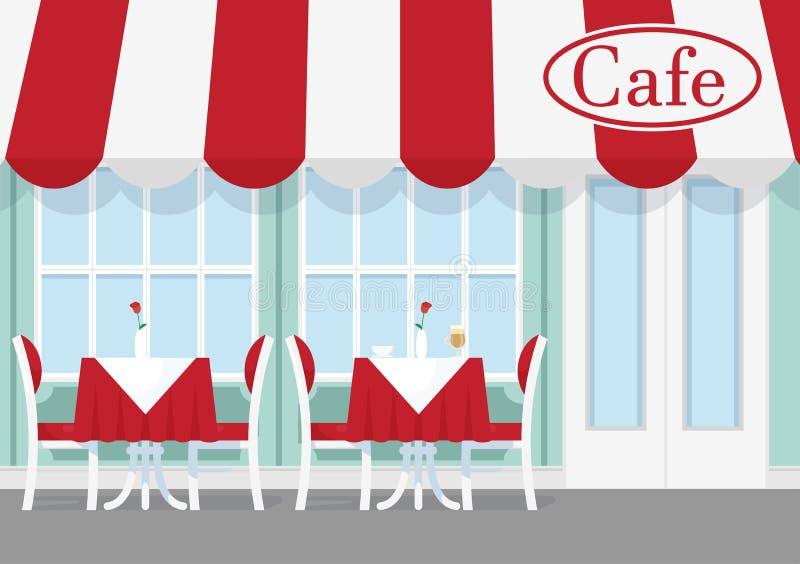 Illustration de vecteur de café ou de table de restaurant avec des chaises, position de parapluie dehors Extérieur de café dans l illustration stock