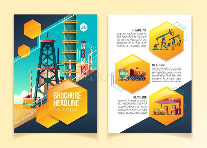 Illustration de vecteur de calibre de brochure d'industrie pétrolière pour le raffinerie de pétrole, la société de production de  illustration libre de droits
