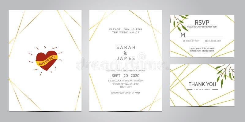 Illustration de vecteur de calibre de carte d'invitation de mariage Ensemble de carte avec la rose de fleur, feuilles L'affiche f illustration libre de droits