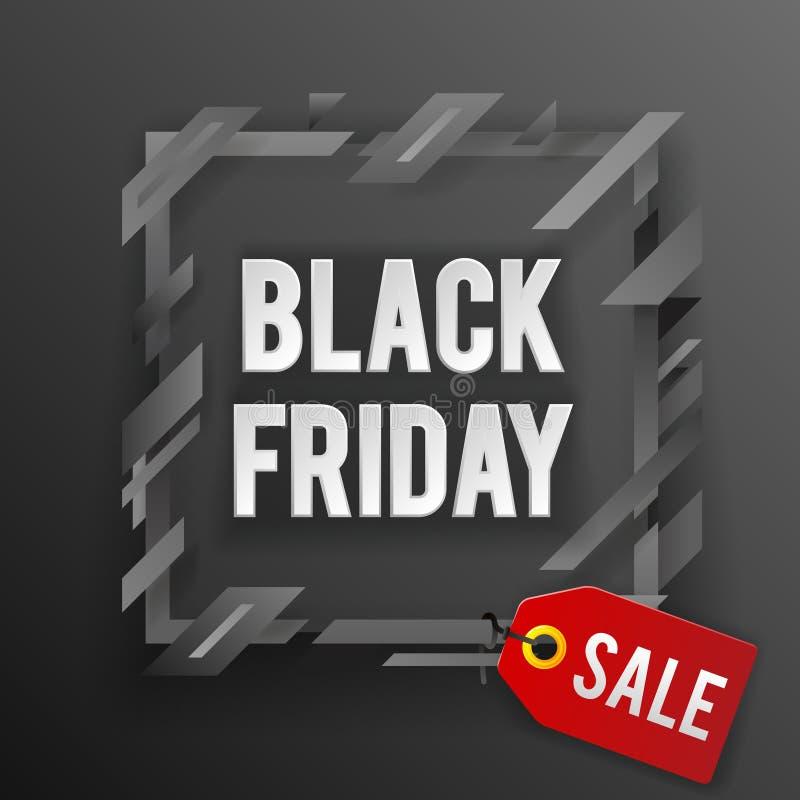 Illustration de vecteur de calibre de conception de bannière de boutique d'étiquette de vente de Black Friday illustration stock