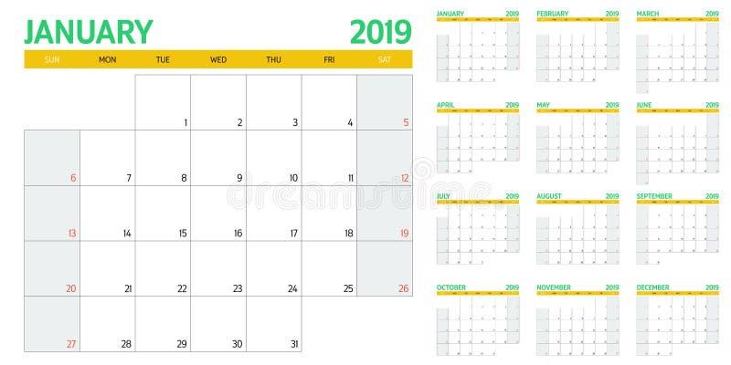 Illustration 2019 de vecteur de calibre de planificateur de calendrier illustration libre de droits