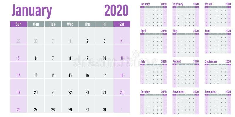 Illustration 2020 de vecteur de calibre de planificateur de calendrier illustration libre de droits