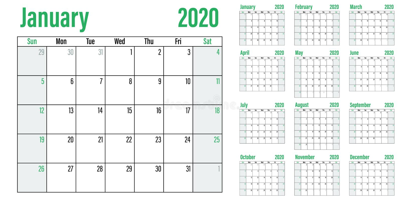 Illustration 2020 de vecteur de calibre de planificateur de calendrier illustration stock