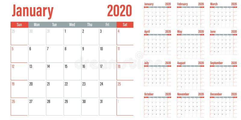 Illustration 2020 de vecteur de calibre de planificateur de calendrier illustration de vecteur
