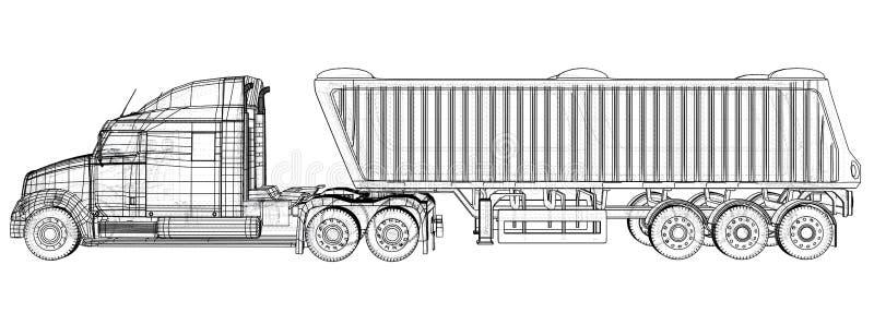 Illustration de vecteur de camion à benne basculante Blanc d'isolement Illustration créée de 3d Fil-cadre illustration stock