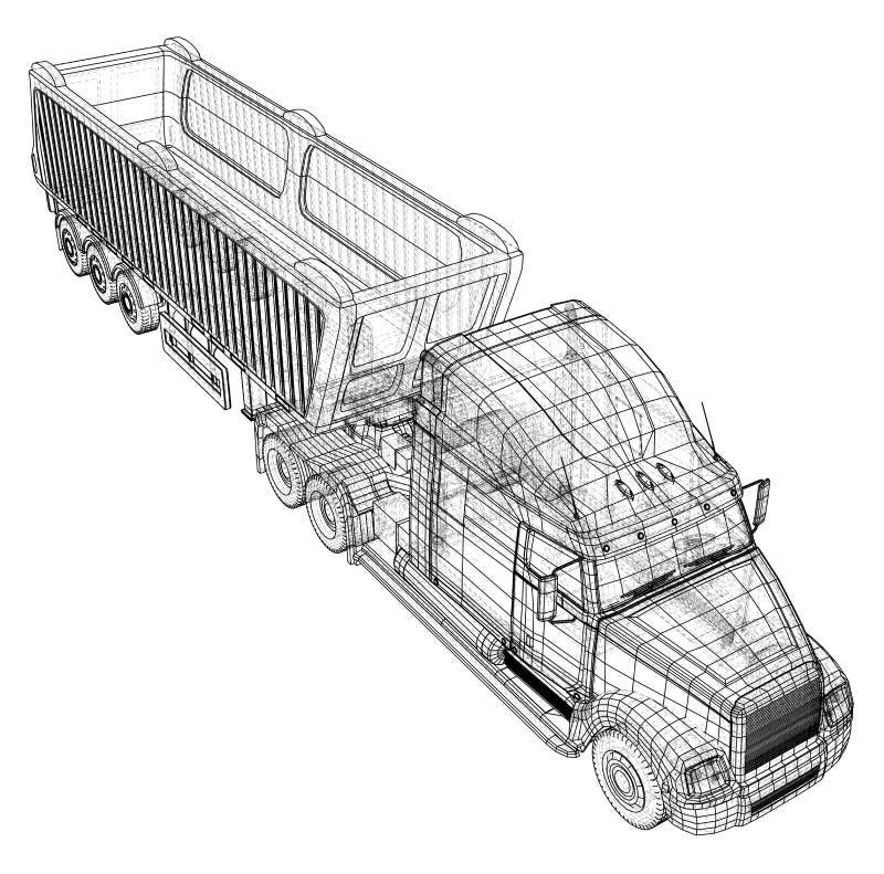 Illustration de vecteur de camion à benne basculante Blanc d'isolement Illustration créée de 3d Fil-cadre illustration de vecteur